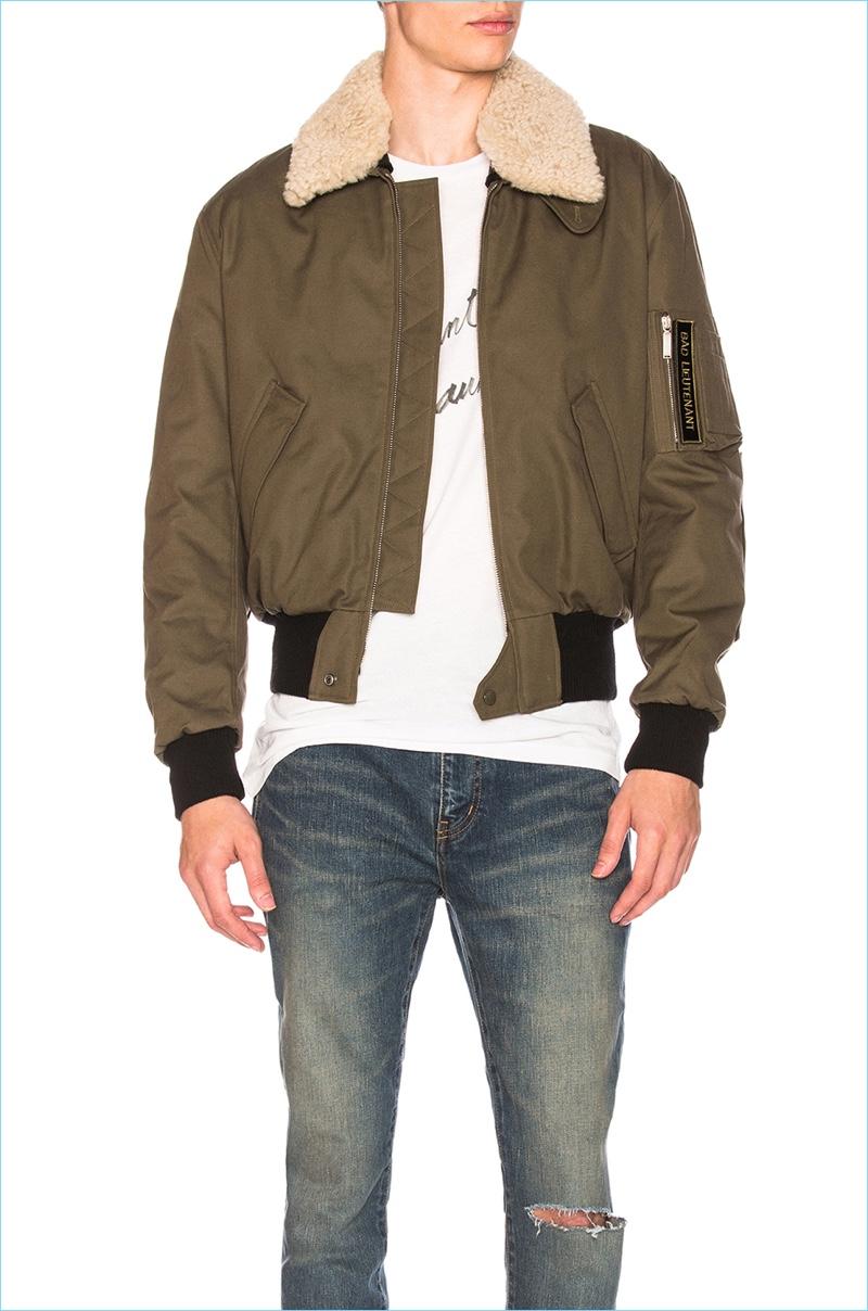 Saint Laurent Shearling Collar Bomber Jacket