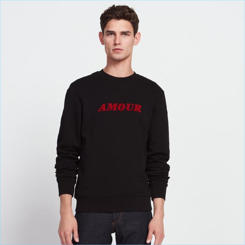 Sandro Men's Black Amour Sweatshirt