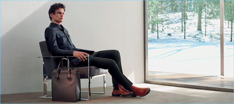 Simon Nessman fronts Bottega Veneta's fall-winter 2017 campaign.