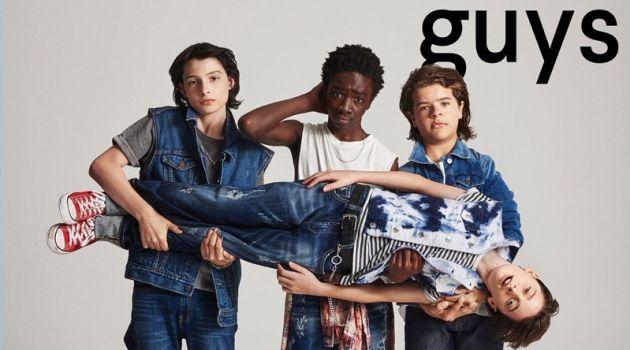 Finn Wolfhard, Caleb McLaughlin, Gaten Matarazzo, and Noah Schnapp cover Nylon Guys.