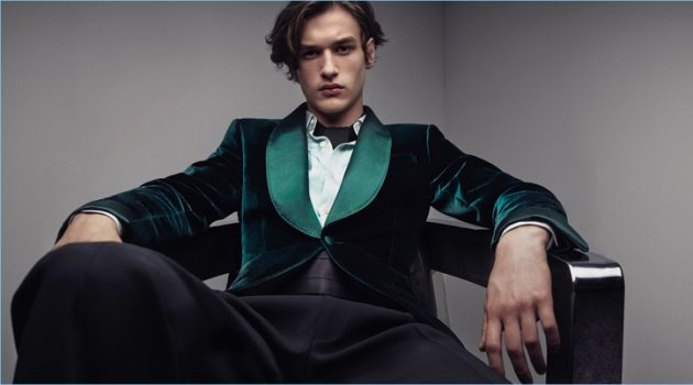 A dapper vision, Jegor Venned wears a green velvet dinner jacket for Tom Ford's fall-winter 2017 digital campaign.