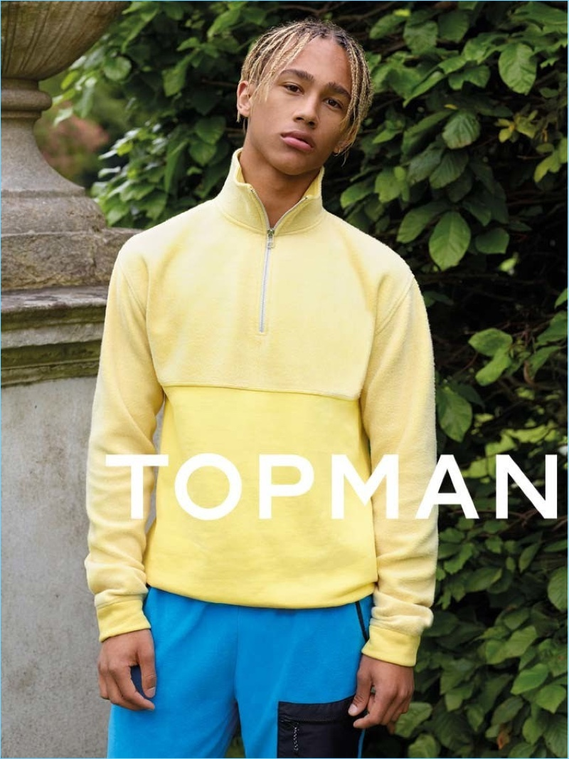 Mixing sporty essentials with bright colors, Nino North appears in Topman's fall-winter 2017 campaign.