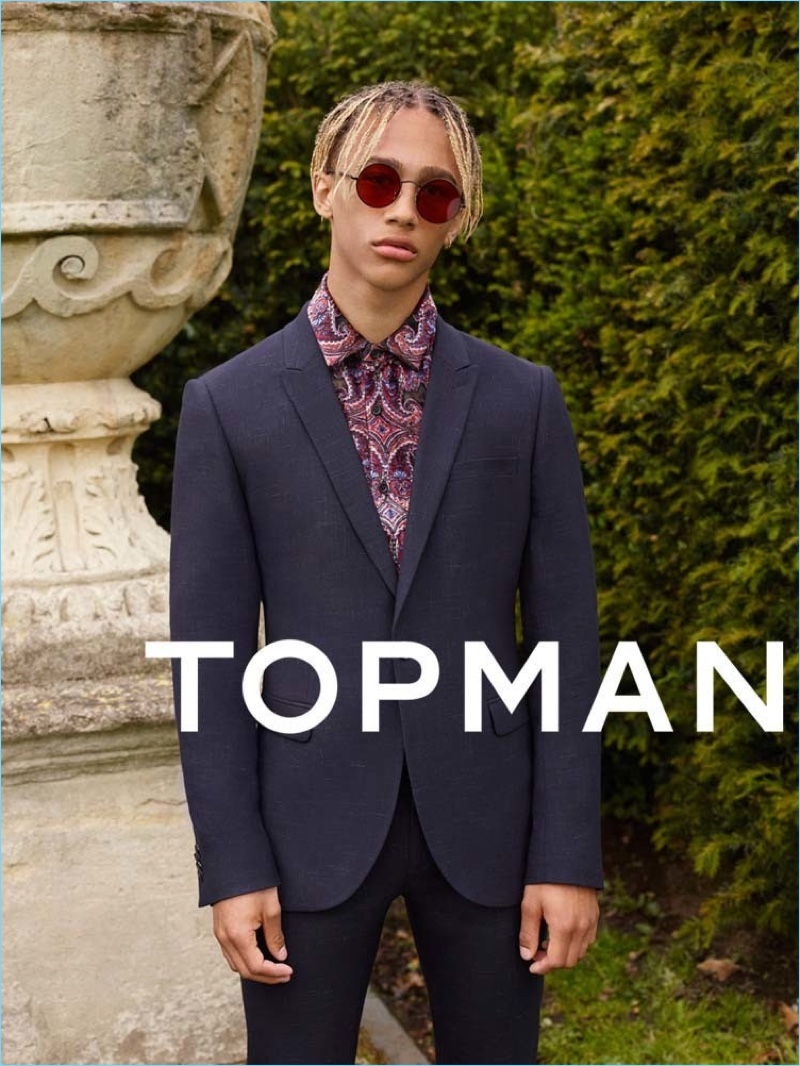 Donning a trim suit and patterned shirt, Nino North fronts Topman's fall-winter 2017 campaign.