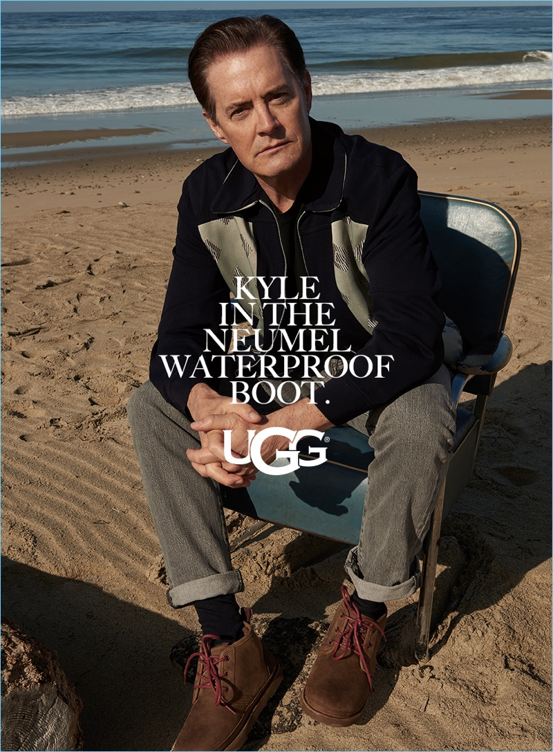Kyle MacLachlan wears UGG's Neumel waterproof boot for the brand's fall-winter 2017 campaign.