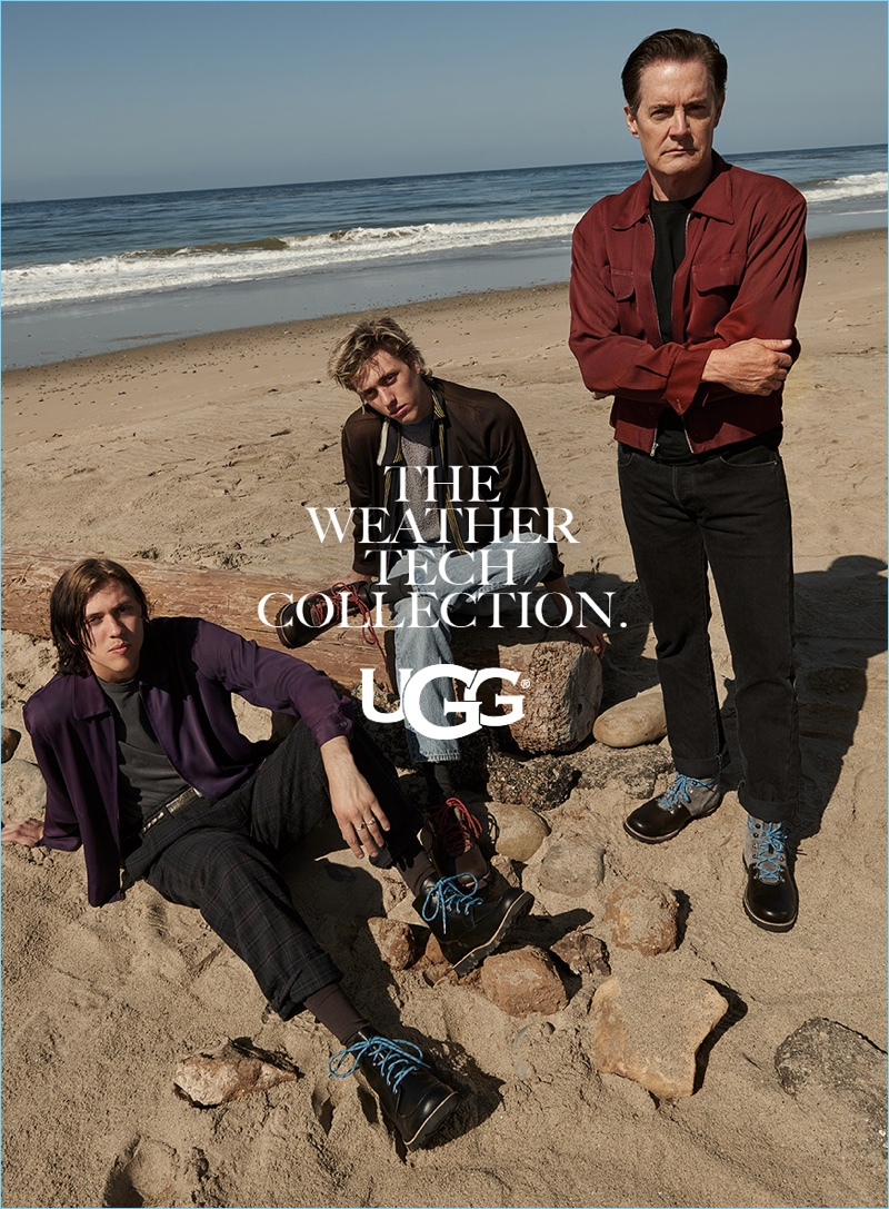 Taking to the beach with Wyatt and Fletcher Shears, Kyle MacLachlan sports UGG's weather tech collection.