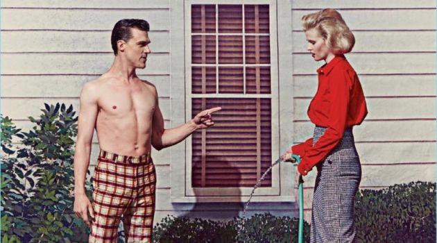 Steven Klein photographs Finn Wittrock and Lara Stone for American Vogue.