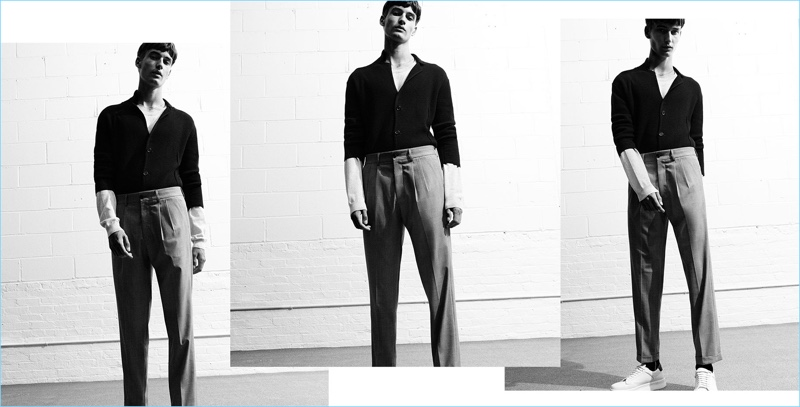 Pleated trousers steal the spotlight as a key item from Zara Man's sustainable collection.