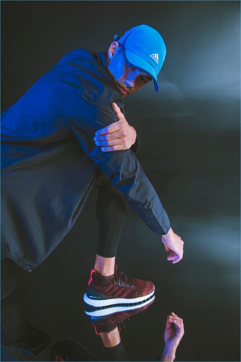 Adidas spotlights its Ultraboost All Terrain running shoes in dark burgundy.