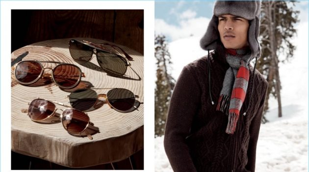 Left: Sunglasses from Ray-Ban, Dita, Eyevan 7285, and Garrett Leight: Right: Geron McKinley is a winter vision in Inis Meain, Pologeorgis, and Johnstons of Elgin.