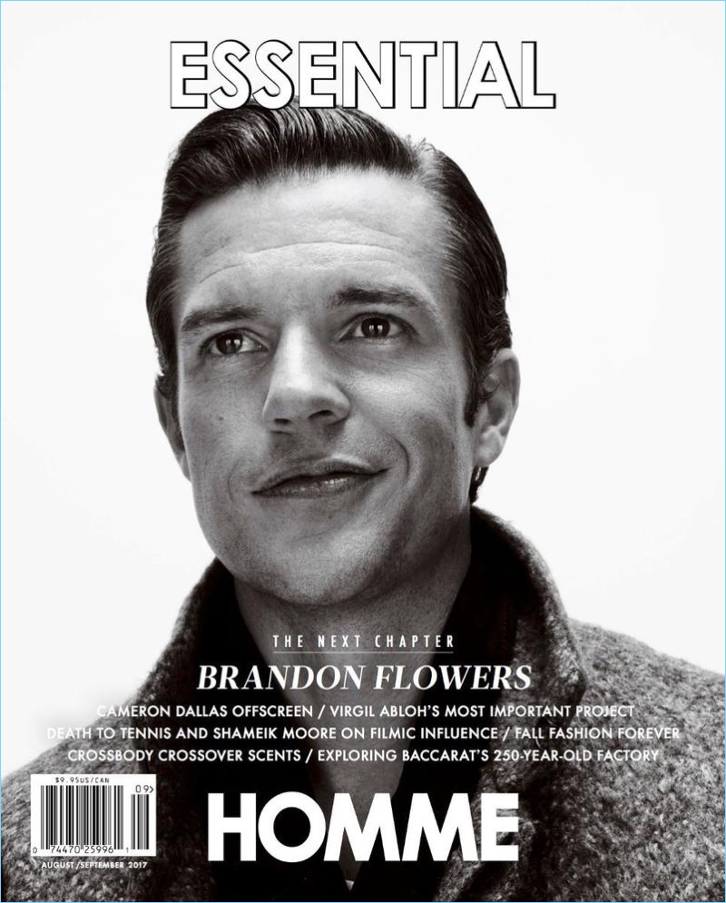 Brandon Flowers covers the August/September 2017 issue of Essential Homme.