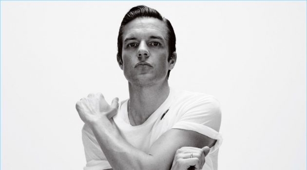 Connecting with Essential Homme, Brandon Flowers wears Saint Laurent.