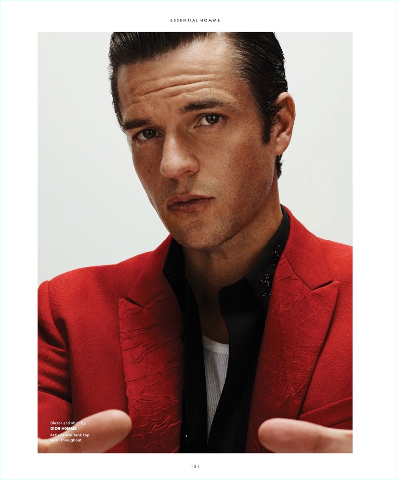 Ready for his close-up, Brandon Flowers sports a red number from Dior Homme.