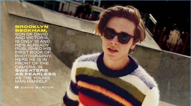 Going skateboarding, Brooklyn Beckham sports a striped Saint Laurent sweater with Citizens of Humanity jeans, and Victoria Beckham sunglasses.