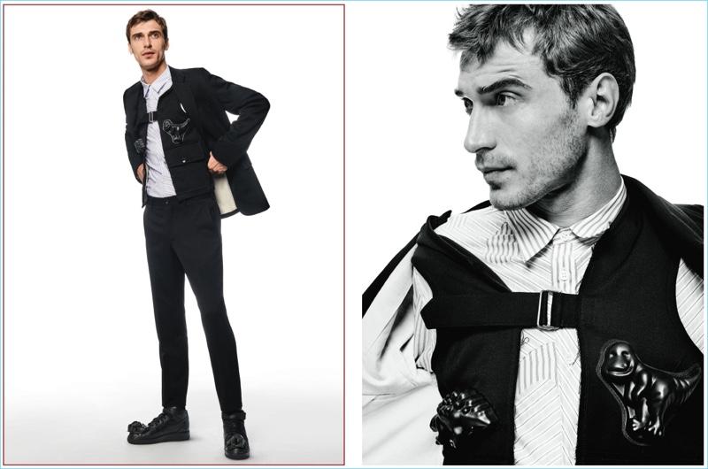 Embracing quirky style sentiments, Clément Chabernaud wears Comme des Garçons Homme Plus.