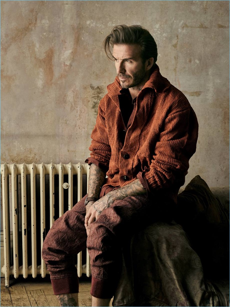 Connecting with How to Spend It, David Beckham rocks an Issey Miyake cardigan and pants with a Joseph shirt.