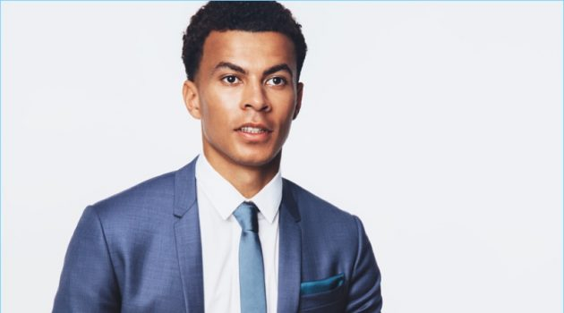 Dele Alli dons a sharp Dior Homme suit, shirt and tie with a Tod's belt for British GQ.