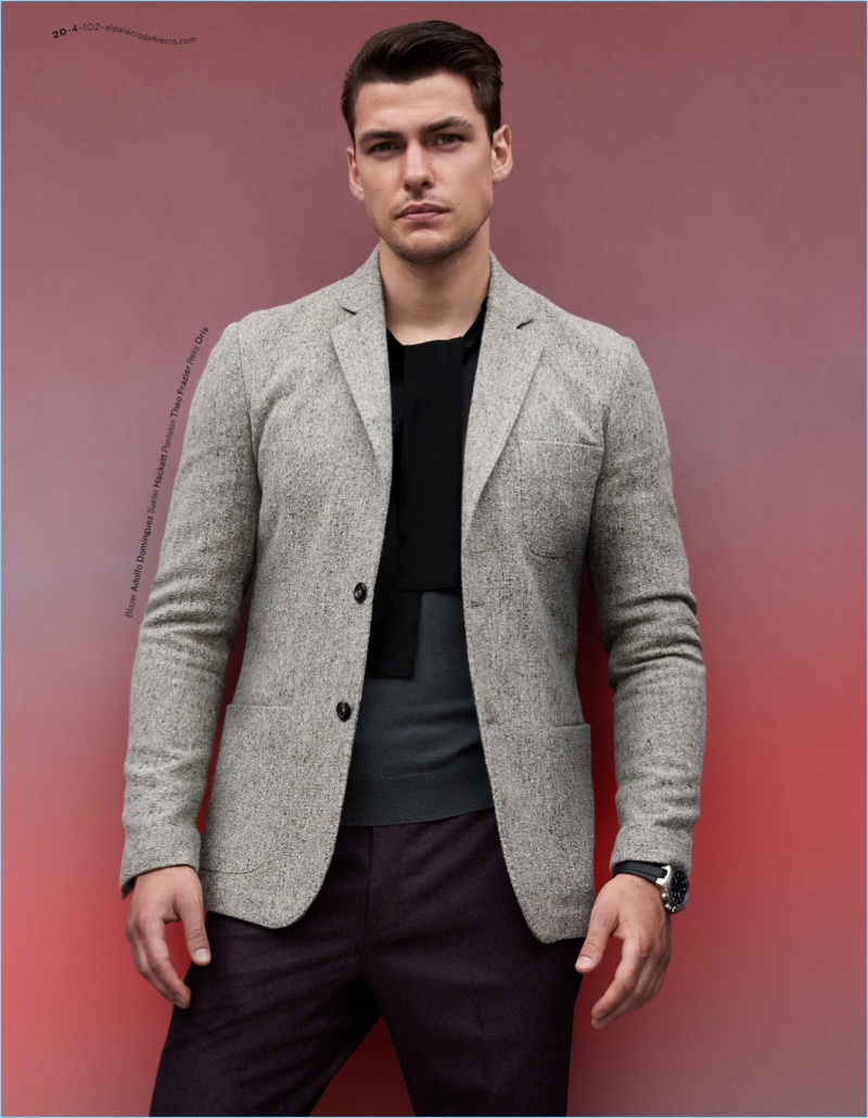Filip Wolfe Models Suits & Sweaters for El Libro Amarillo