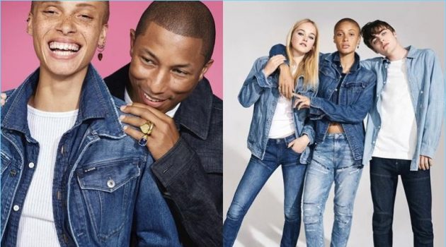 Adwoa Aboah, Pharrell Williams, Jean Campbell, and Lennon Gallagher star in G-Star's fall-winter 2017 campaign.