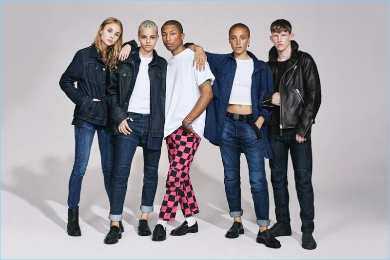 Pharrell Williams and Connor Newall appear in G-Star's fall-winter 2017 campaign.