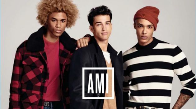 Models wear stylish look from AMI's Gap collaboration.