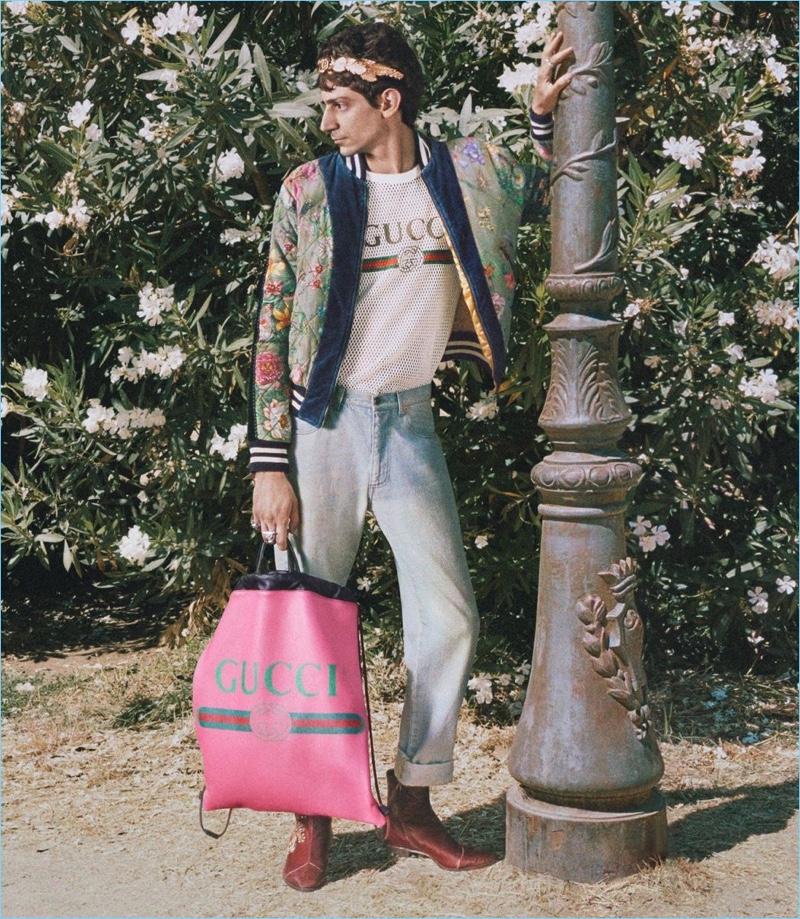 Gabriele Lepera appears in Gucci's cruise 2018 campaign.