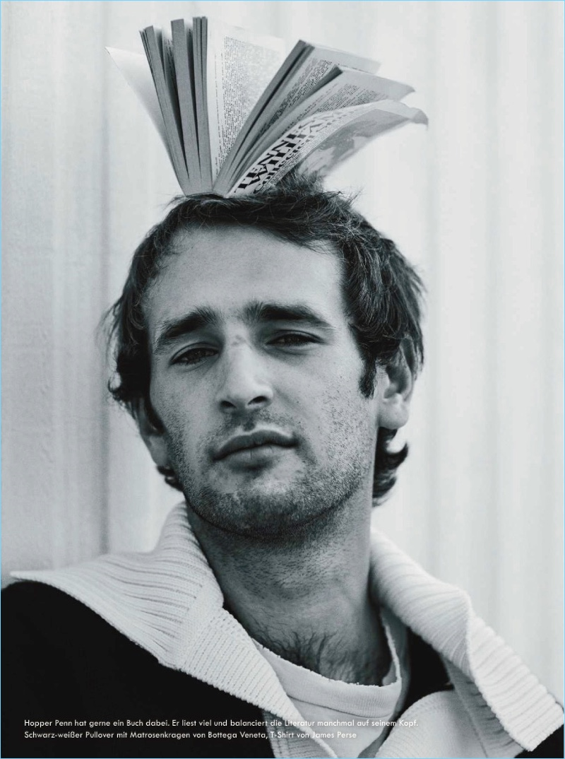 Starring in a Zeit photo shoot, Hopper Penn wears Bottega Veneta and James Perse.