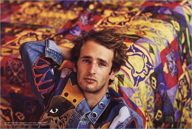Actor Hopper Penn rocks a Dolce & Gabbana denim jacket.