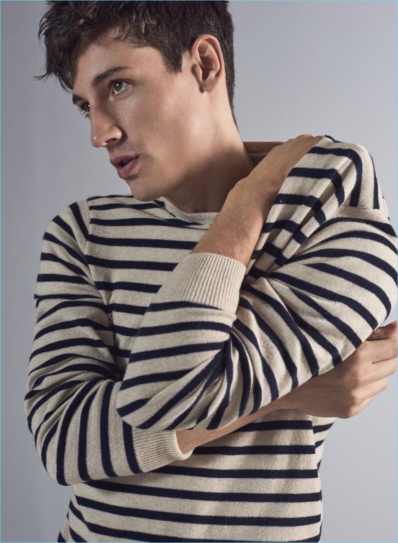 Stripes for Cold Weather: Nicolas Ripoll rocks a J.Crew cashmere stripe sweater $118.