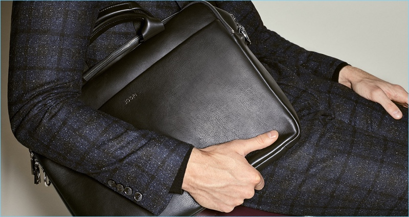 JOOP! highlights its sleek leather briefcase as part of its fall-winter 2017 campaign.