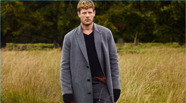 Embracing the oversize trend, James Norton wears an Acne Studios overcoat, Dries Van Noten trousers, and a Prada sweater.