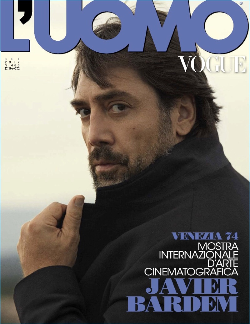 Javier Bardem covers the September 2017 issue of L'Uomo Vogue.