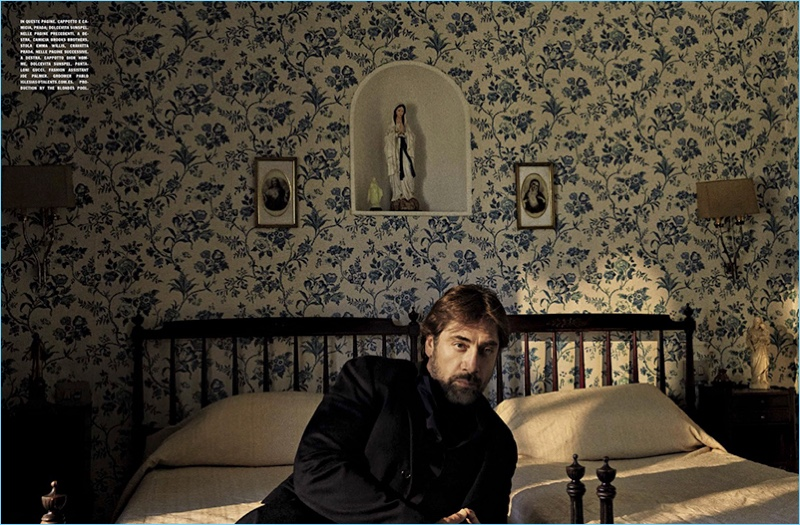 Relaxing, Javier Bardem dons a Prada shirt and jacket with a Sunspel turtleneck.