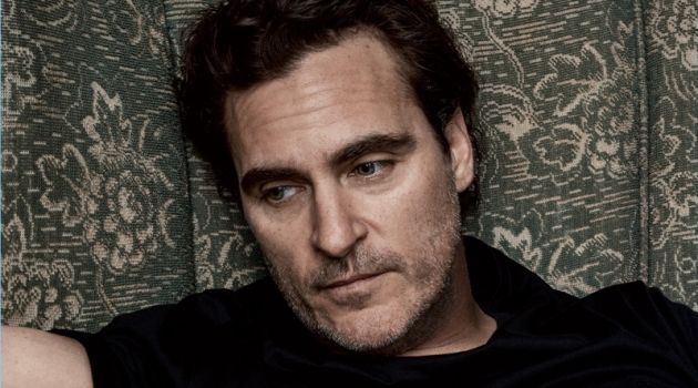 Relaxing, Joaquin Phoenix sports a Ralph Lauren t-shirt.
