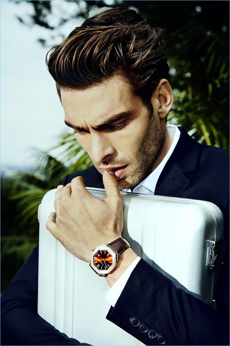 Model Jon Kortajarena appears in a photo shoot image for BVLGARI.