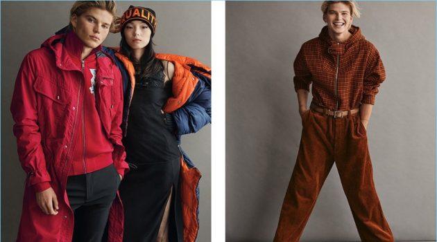 Left: Embracing red, Jordan Barrett wears Versace. Right: Jordan wears wool and corduroy fashions by Marni.