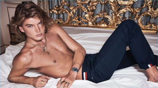 Going shirtless, Jordan Barrett stars in Calibre's new campaign.