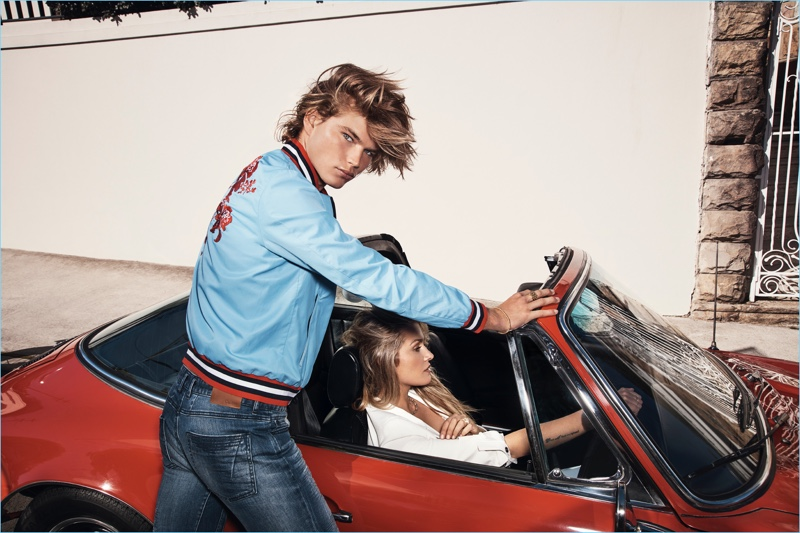 Embracing casual style, Jordan Barrett and Cheyenne Tozzi appear in Calibre's advertising campaign.