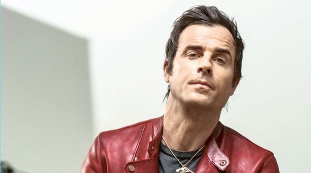 Making a statement in a red Layer-0 leather biker jacket, Justin Theroux also wears a vintage t-shirt and Nudie Jeans denim.