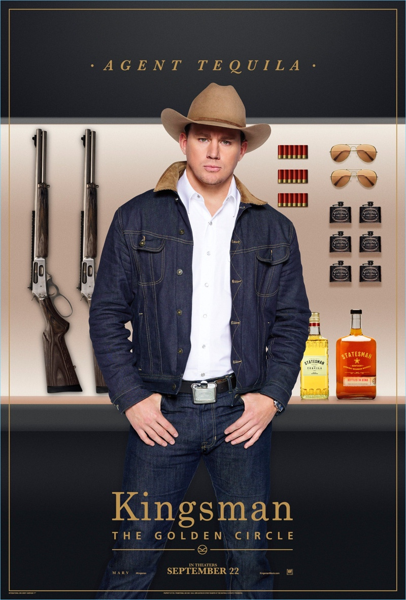 Channing Tatum joins the Kingsman world, wearing a Stetson hat $250. Stepping into the role of Agent Tequila, Tatum sports a Kingsman + Jean Shop denim jacket $450 with a Kingsman + Turnbull & Asser western shirt $425. Tatum's look is complete with Kingsman + Jean SHop selvedge denim jeans $295.
