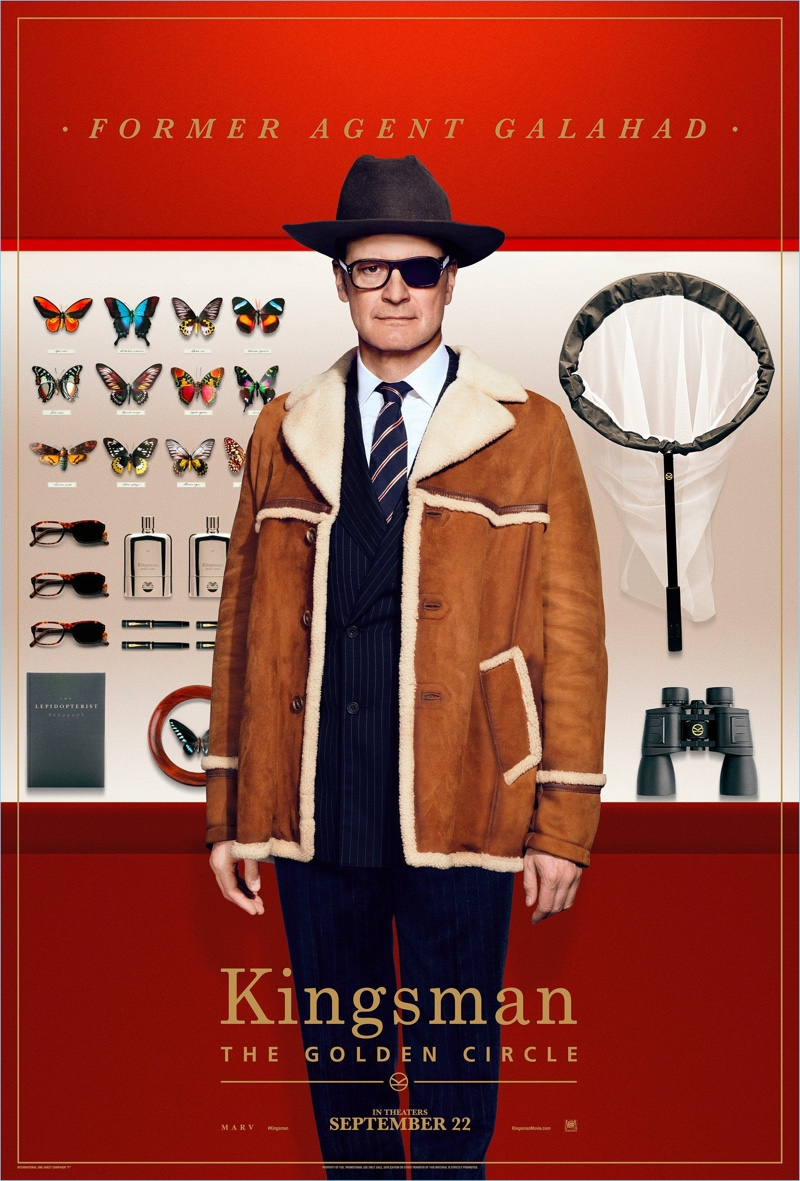 Colin Firth reprises his role as Harry Hart. Firth wears a Kingsman navy pinstriped suit $2,495 and a shearling coat $2,795. He also sports a Kingsman + Drake's striped tie $140.