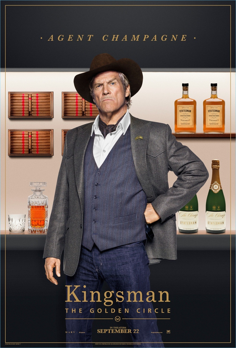 Jeff Bridges plays Agent Champagne and wears a Kingsman western jacket $1,595 with a Stetson leather-trimmed hat $250.