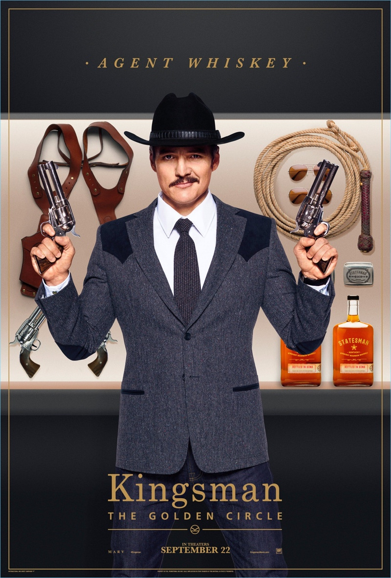 Stepping into the gun toting role of Agency Whiskey, Pedro Pascal wears a Kingsman wool blazer $1,595.