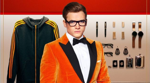 Playing Gary 'Eggsy' Unwin, Taron Egerton dons a Kingsman orange velvet tuxedo jacket $1,995, and trousers $650. Egerton also wears Kingsman + Cutler and Gross square-frame glasses $375.