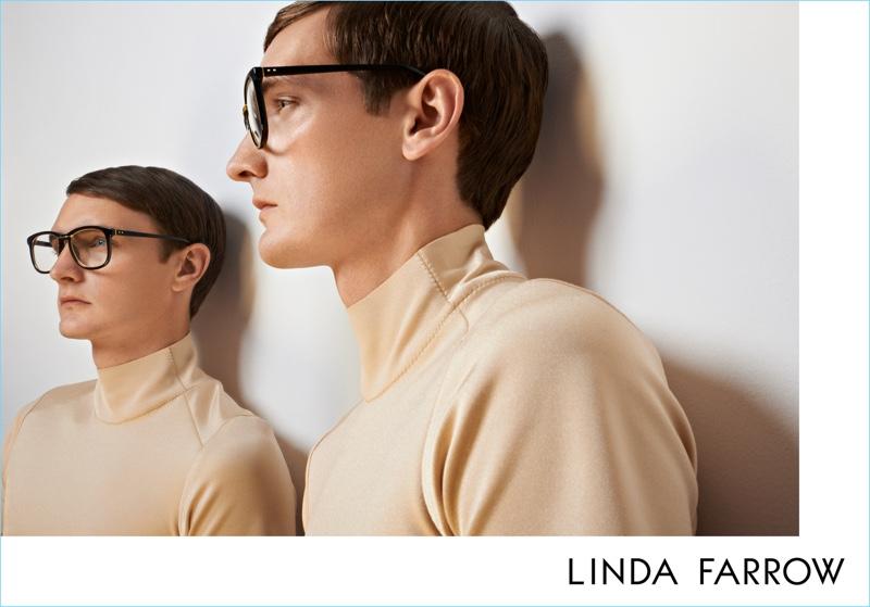 Yannick Abrath fronts Linda Farrow's fall-winter 2017 campaign.