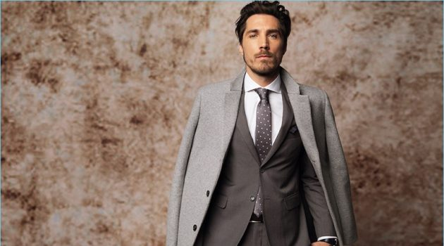 Donning a sharp suit, Guillaume Macé fronts Macson's fall-winter 2017 campaign.