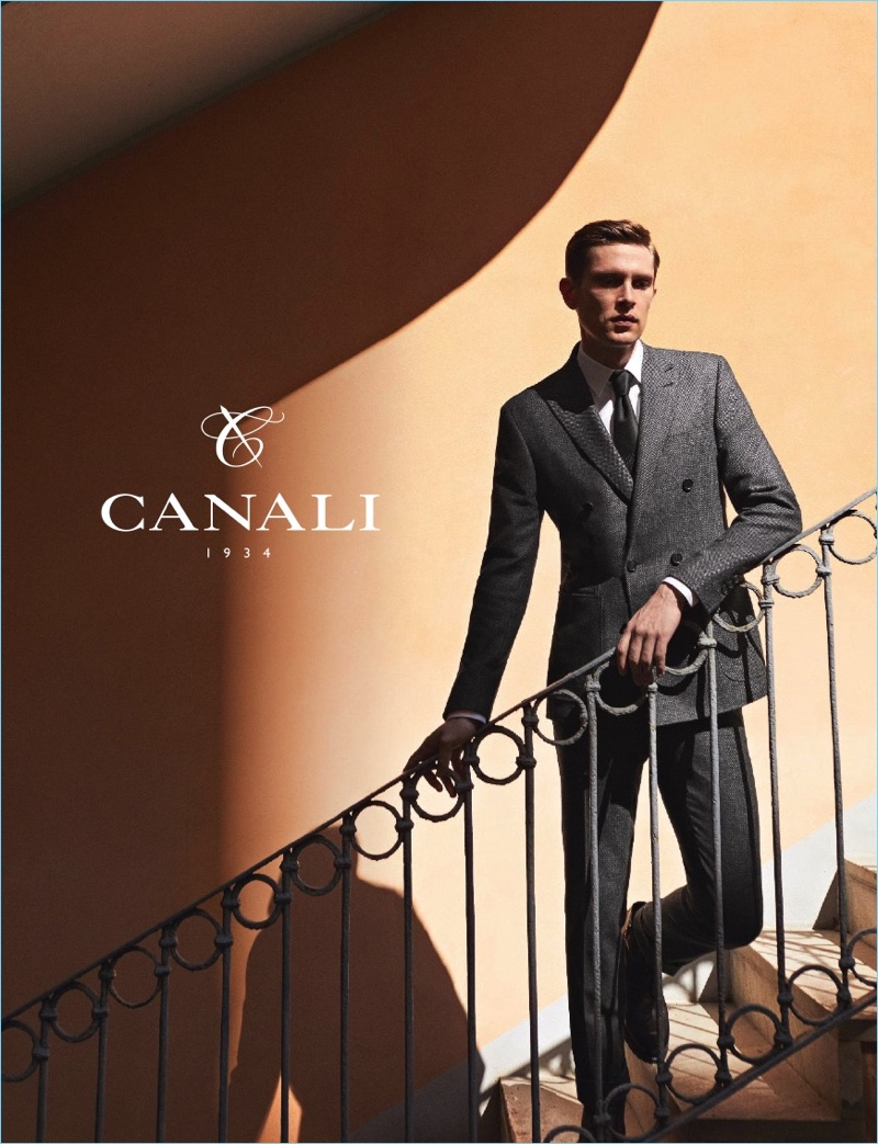 Danish model Mathias Lauridsen stars in Canali's fall-winter 2017 campaign.