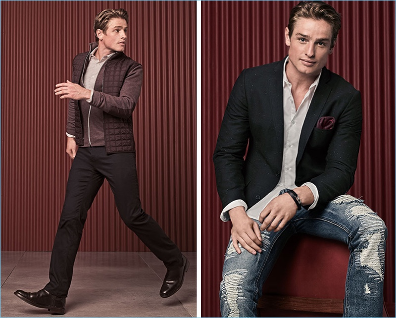 Left: Patrick O'Donnell wears a Perry Ellis look. He sports a quilted vest $79.50, heathered jacket $89.50, dress shirt $69.50 and stretch pants $59.50. Right: The English model wears an INC International Concepts slim-fit blazer $129.50 with a shirt $59.50, and ripped jeans $79.50.