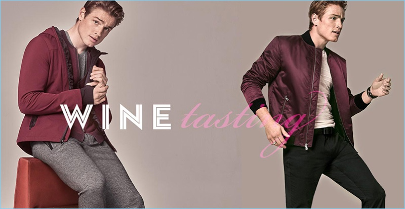 Macy's makes a case for burgundy style. Left: Patrick O'Donnell wears Calvin Klein soft-shell jacket. Right: The English model wears an INC International Concepts bomber jacket.