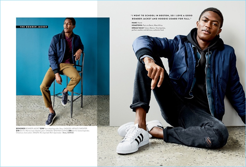 Heading into fall, Nordstrom proposes essentials like the bomber jacket. Left: Model Hamid Onifade wears a Bonobos bomber jacket $298 and henley sweater $118. Hamid also wears Bonobos chinos $98 and To Boot New York sneakers $350. Right: Hamid sports a Bonobos bomber jacket $298 with a Reigning Champ french terry hoodie $145, Frame jeans $235, and Adidas Stan Smith sneakers $74.95.