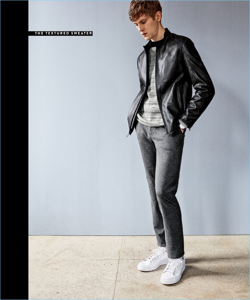 Making a case for the textured sweater, Mathias Lauridsen wears a Calibrate knit $69.50. The Danish model also sports Calibrate knit pants $89.50 with a leather jacket $399. Mathias' look is complete with Adidas Stan Smith sneakers $74.95.